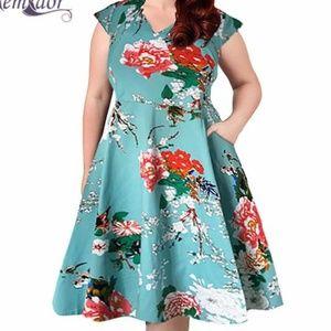 e70bad4af7d Nemidor. Pin-up retro swing floral dress ...